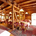 Chalet style restaurant with carpets