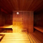 Sauna with wooden benches
