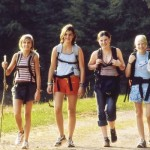 Female hikers walking