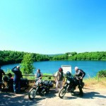 Bikers by the lake